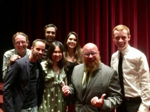 "Cast and crew of ""Some Like It Boring"" at the premiere, 5/6/2018. (From left to right: Actors Tony Nassif and Mark Samet, Ramin Afshari crew, director Angelina Feronti, producer Ashley Agren, cinematographer Matt Hanisch."